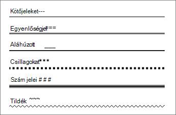 Az egyes karaktereket háromszor beírva vonalak táblázata