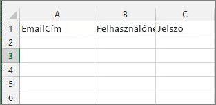 Cellafejlécek az áttelepítési Excel-fájlban.