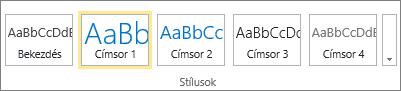 Képernyőkép a SharePoint Online menüszalagjának Stílusok csoportjáról, ahol a Címsor 1 stílus van kiválasztva