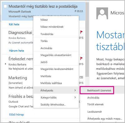 E-mail helyreállítása és áthelyezése a beérkezett üzenetek mappájába