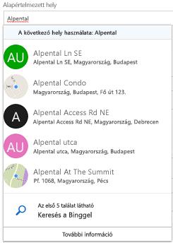 Javasolt helyek kínálják Bing keresztül