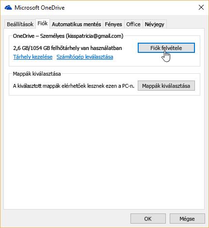 A OneDrive-beállítások Fiók lapja