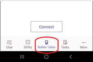 Walkie Talkie icon at bottom of Teams screen