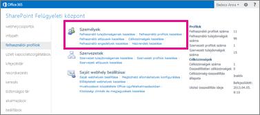 A SharePoint Online – Felügyeleti központ a kijelölt felhasználói profilok lapjával