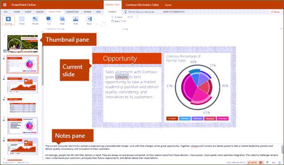 Szerkesztés nézet a PowerPoint online-ban