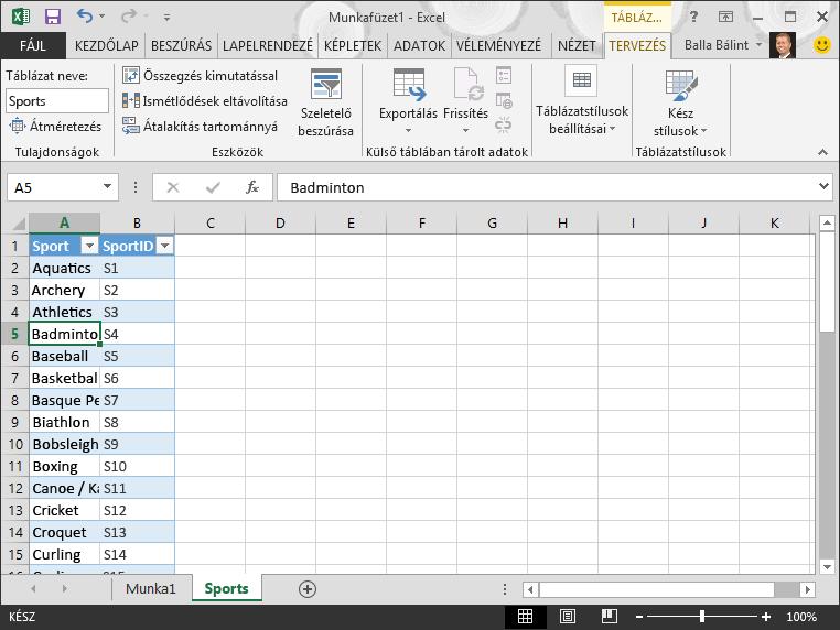 Táblázat elnevezése az Excelben