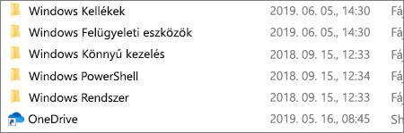 Képernyőkép a OneDrive alkalmazásról a Fájlkezelőben