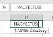 Képernyőkép a függvényt ismertető eszköztárról