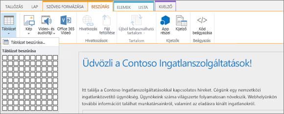 Képernyőkép a SharePoint Online menüszalagjáról. Válassza a Beszúrás fület, majd a Táblázat beszúrása elemet választva adja meg az új táblázat sorainak és oszlopainak számát.