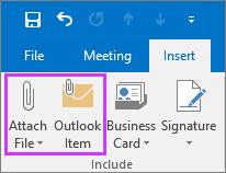 Kattintás a Beszúrás lap Fájl csatolása vagy Outlook-elem elemére