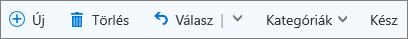 Az Outlook.com parancssávja a megjelölt elemek között és a feladatlistában megjelölt e-mailekhez