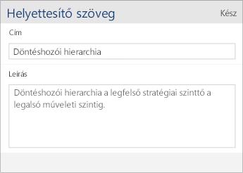 Képernyőkép a Word Mobile helyettesítő szöveg párbeszédpaneljéről, amely a Cím és a Leírás mezőt tartalmazza.