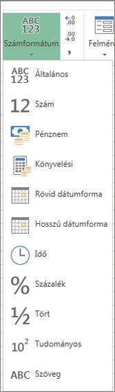A használható számformátumok