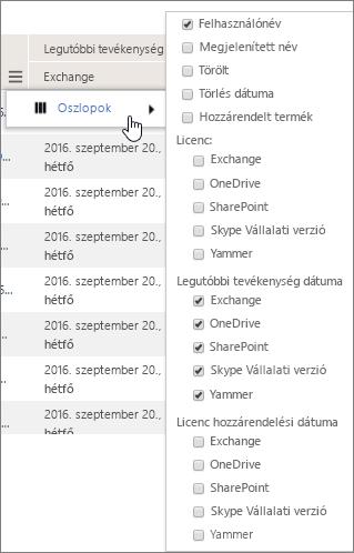 Felhasználószintű szűrőbeállítások
