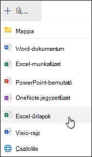 Excel-űrlap beszúrása a webes Excelben