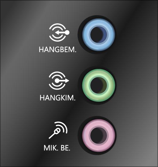 Zöld kimeneti és rózsaszín bemeneti hangrendszer-csatlakozók