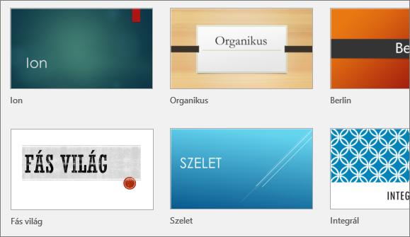 Témák a PowerPoint Fájl > Új lapján
