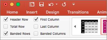 Képernyőkép a Táblázateszközök eszközcsoport Tervezés lapján lévő Fejlécsor jelölőnégyzetről