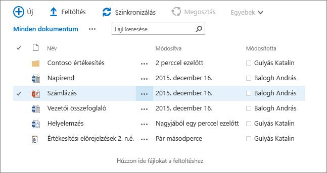 Párbeszédpanel a SharePoint dokumentumtárában, benne fájlokkal.