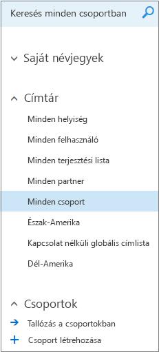 A Webes Outlook vállalati verzió naptárában a csoportok tallózásakor megjelenő mappalista