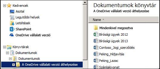 Az átmeneti tárolásra szolgáló mappa, miután megtörtént a fájlok áthelyezése a szinkronizált SharePoint OneDrive Vállalati verzióbeli mappából