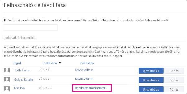 Képernyőkép, melyen a rendszergazda eltávolít egy felhasználót.