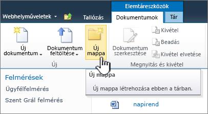 A SharePoint 2010 Dokumentumok menüszalagja, az Új mappa kiemelve