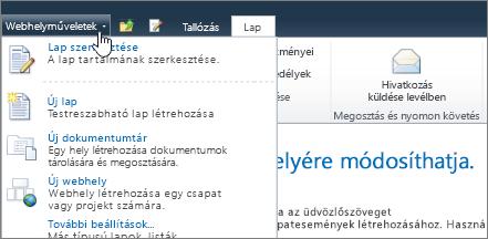 SharePoint 2010 – webhelyműveletek menü