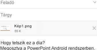 Megosztáshoz kiválasztott dia elküldése üzenetküldő appal Android-eszközön