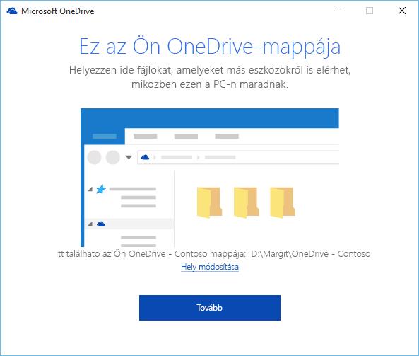 """Képernyőkép: az """"Ez az Ön OneDrive-mappája"""" képernyő az """"Üdvözli a OneDrive!"""" varázslóban"""