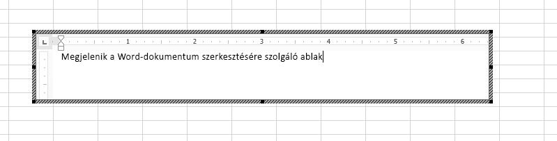 A beágyazott Word-dokumentum közvetlenül az Excelben szerkeszthető.