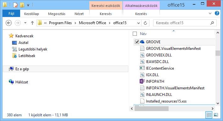 A Groove.exe fájl keresése a Windowsban