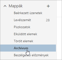 Képernyőkép az Archív mappáról