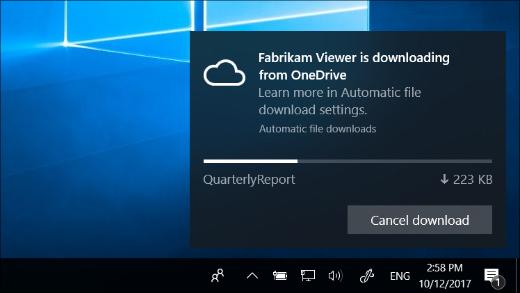 A OneDrive fájlok igény szerinti kérése funkció bekapcsolásakor kapott értesítés letöltése