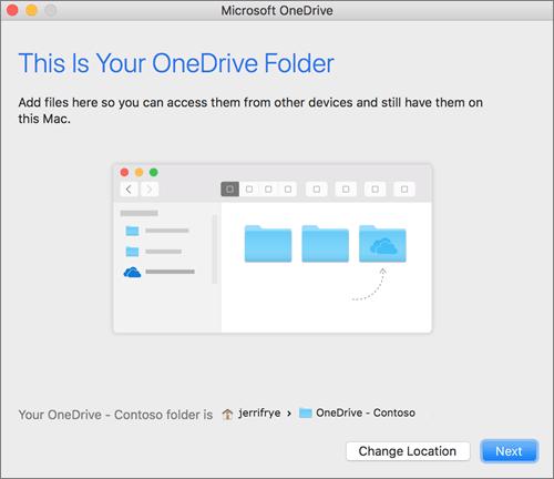 """Képernyőkép: az """"Ez az Ön OneDrive-mappája"""" képernyő egy mappa kiválasztása után az """"Üdvözli a OneDrive!"""" varázslóban, Macen"""