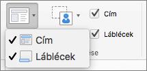 Képernyőkép, amelyen a Minta elrendezése csoport Cím és Élőlábak lehetőségei láthatók.