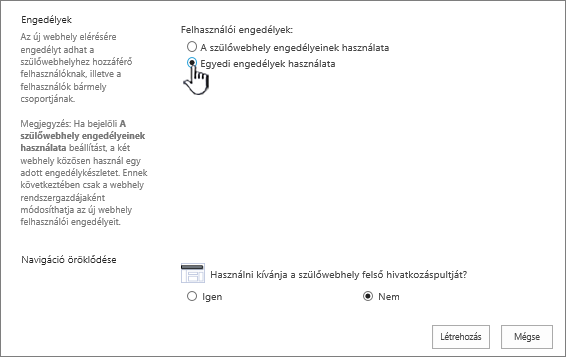 A vállalati wikiwebhely felvételére szolgáló képernyő Egyedi engedélyek használata választógombja