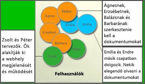 Különböző felhasználói csoportok, tagok, webhelytervezők és látogatók diagramja