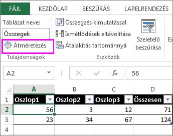 Átméretezés parancs a Táblázateszközök csoportban