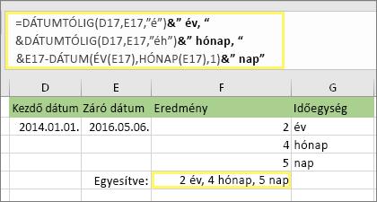 """= DÁTUMTÓLIG (D17; E17; """"y"""") & """"Years,"""" &DATEDIF (D17, E17, """"ym"""") & """"months"""" &DATEDIF (D17, E17, """"MD"""") & """"napok"""" és eredmény: 2 év, 4 hónap, 5 nap"""