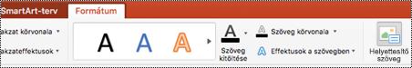 Helyettesítő szöveg gomb a menüszalagon, a PowerPoint for Mac egy SmartArt-ábra