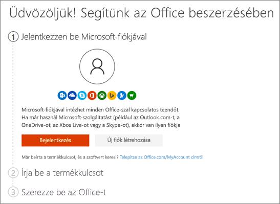 A setup.office.com kezdőlapja