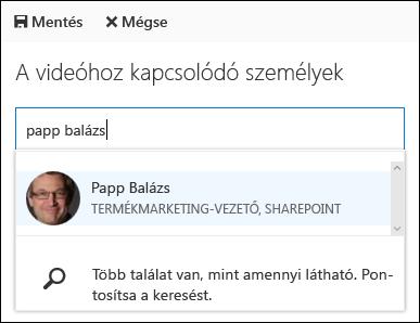 Az Office 365 videó társítása személyek