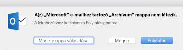 Ez az üzenet akkor jelenik meg, amikor először használja a Mac Outlook 2016 Archiválás gombját