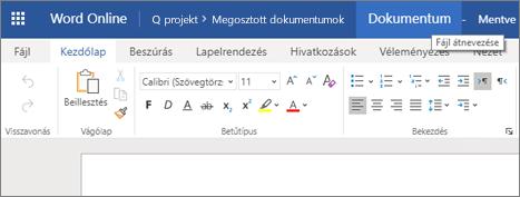 A címsávra kattintva módosíthatja a dokumentum nevét a Word Online-ban