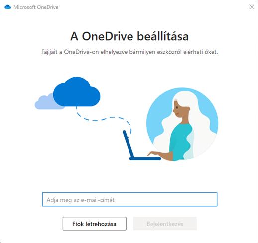 Képernyőkép a OneDrive-beállítás első képernyőjéről