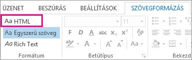 A HTML formázási lehetőség az üzenet Szövegformázás lapján