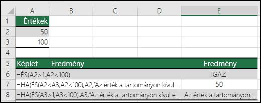 Példák a HA és az ÉS függvény közös használatára