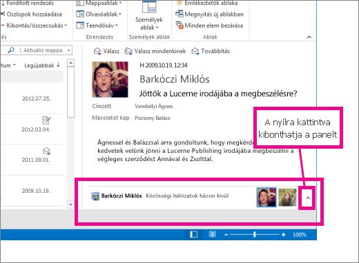 Az Outlook Közösségi Összekötő alapértelmezés szerint kis méretre van állítva