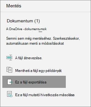 A fájl exportálása